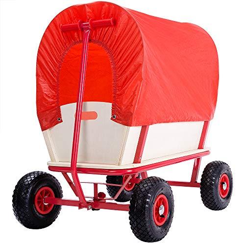 Deuba Bollerwagen Holz bis 180 kg belastbar Handwagen Rot 4 luftgefederte Profilreifen Allround Stahlrohrrahmen