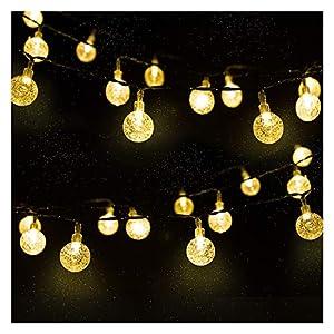 LED Solar Lichterkette Kristall Kugeln 4.5 Meter 30er Warmweiß, Mr.Twinklelight Außerlichterkette Deko für Garten, Bäume, Terrasse, Weihnachten, Hochzeiten, Partys, Innen und außen
