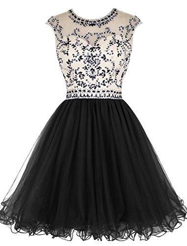 Fanciest Women' Cap Sleeve Beaded Kurz Homecoming Kleides Ball Lang  Abendkleider Ballkleid Schwarz Black