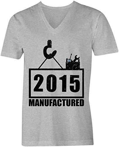 Manufactured 2015 - V-Neck T-Shirt Männer-Herren - hochwertig bedruckt mit lustigem Spruch - Die perfekte Geschenk-Idee (05) grau-meliert