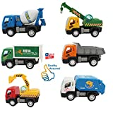 #5: HALO NATION Construction Vehicle Set 6 pcs - Dumper + JCB + Cement Mixer + Transport Truck + Garbage Truck + Crain - Unbreakable ABS Plastic Friction Powered Kids Automobile Toy Set - Assured Quality