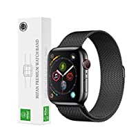 Apple Watch 44mm/42mm Mifan Milanese Loop Band Replacement Strap Premium Mesh Stainless Steel Black Anti Sweat Cooling Wristband Black with Magnetic Clasp for Apple Watch Series 1/2/3/4