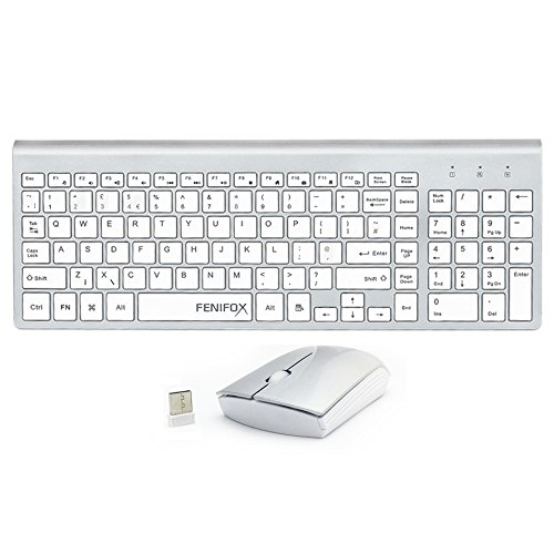 fenifox Wireless Tastiera E Mouse Set Tasti Silenziosi sottile per Computer PC e Mac
