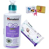 Himalaya Herbals Baby Massage Oil (500ml)+Himalaya Herbals Gentle Baby Wipes (24 Sheets) With Happy Baby Luxurious Kids Soap With Toy (100gm)