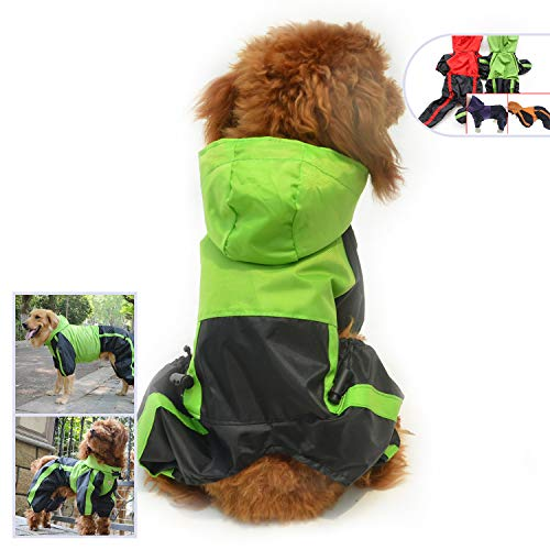 Longlongpet Regenjacke für Hund, wasserdicht, für kleine, mittelgroße und große Hunde, mit Kapuze