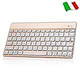 Italian Tastiera Bluetooth Wireless Ultra Sottile Dingrich Universale In Alluminio, Retroilluminata Per IOS, IPad, Android, Mac, IPhone