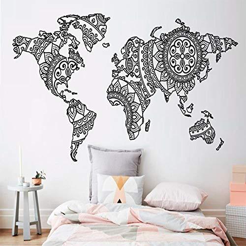 Mandala World Map Wall Sticker Bedroom Decor Yoga Wall Vinyl Art Pattern Wall Decor Modern Boho Style Home Decor Mural e2 113x56cm