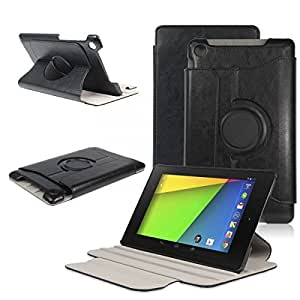 Rotating PU Leather Case Cover Stand for 2013 ASUS Google Nexus 7 FHD 2nd 2 Gen Color Black
