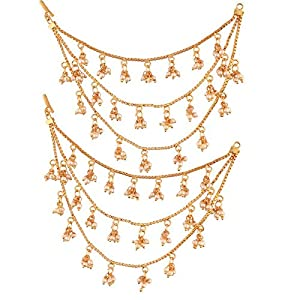 I Jewels Gold Plated Bahubali Hair Chain Accessories for Earrings for Women (E2604FL)