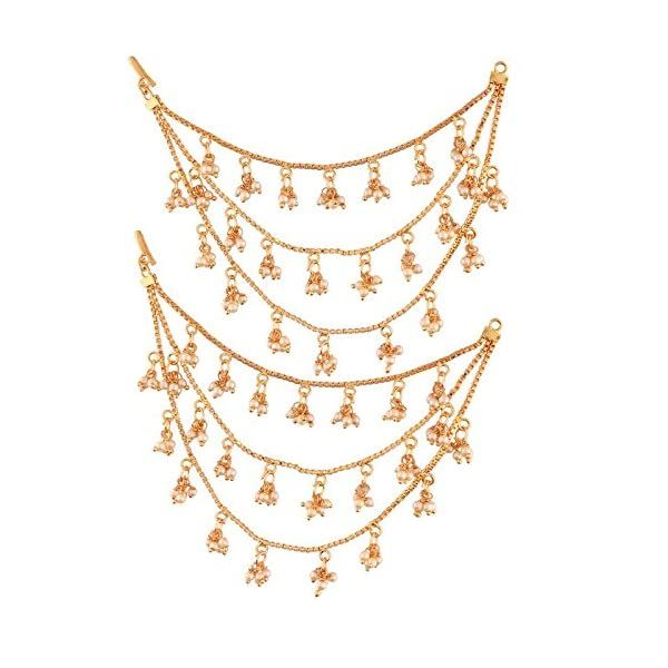 I Jewels Gold Plated Hair Chain Earrings For Women (E2604Fl)