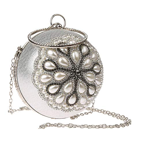 Baoblaze Frauen Glitter Abendtasche Perlen Kristalle Clutch Handtasche Handtasche Crossbody - Silber