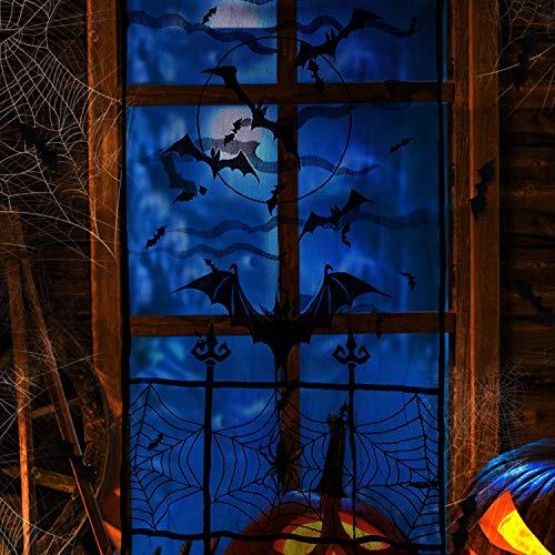 Joyjoz Halloween Deko Vorhang Spitze mit 24pcs 3D Fledermäuse Aufklebern, Halloween Fledermäuse Deko Fensterdekoration Hängend Tür Vorhang Tischdecken Kamin Dekoration