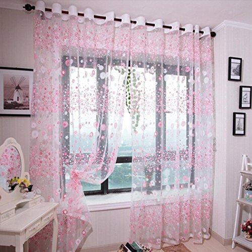 Tpulling - tenda in tulle a fiori con drappeggio a balze e 1 inserto in tessuto 100x 200cm rosa