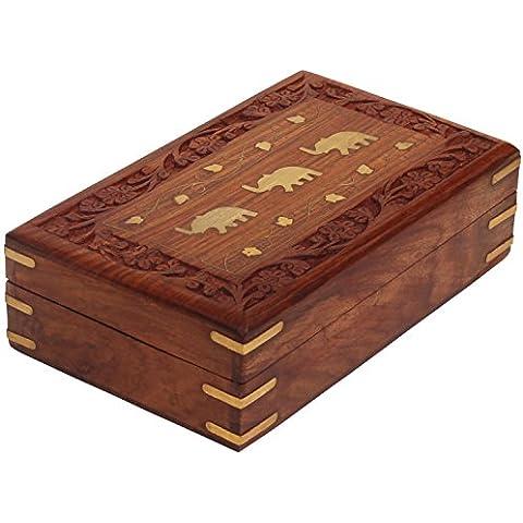 SouvNear Dancing elefante caja de almacenamiento de madera–hecha a mano joyero/Caja (/cofre del tesoro/caja de recuerdos 20,3cm–Anillo/collar/pendientes–Indian Regalos Para Las Niñas y las mujeres