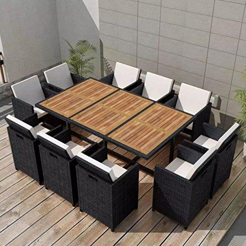 binzhoueushopping Mobilier de Jardin 31 pcs Dimensions de la Table 167 x 109 x 74 cm (L x l x H) Noir en Bois d'acacia Hauteur des accoudoirs à partir du Sol 67 cm Résine tressée