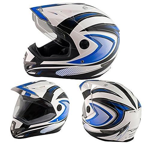 Casque Motocross Moto Enduro Offroad Quad ATV Visière Anti Buée Bleu L