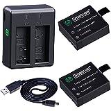 Smatree Batería Recargable (Paquete de 2) + Mini Cargador de Batería Doble para Cámara SJ4000, SJ5000, SJ6000, DBPOWER, MUSON, Patech, 4K, WIMIUS, AKASO EK7000