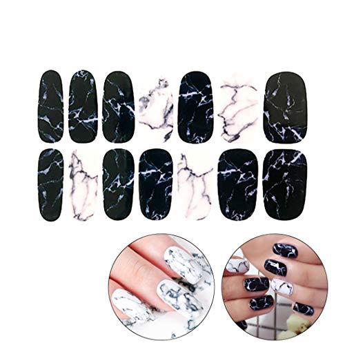 1 Blatt Marmor Nagelaufkleber Französisch Volle Nail Wraps Nagellack Aufkleber Adhesive Nail Art Maniküre für ()