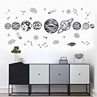 LIK Solar System Wall Stickers Planet Outer Space Wall Decals Stickers Removable for Kids Nursery Bedroom Living Room Decoration Black