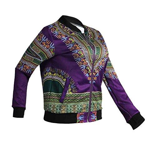 Minzhi Bomber da motociclista classico con cerniera lampo moda donna stampa africana con soprabito a manica lunga con stampa floreale Viola