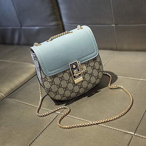 Fyyzg einzelne Schulter Messenger Bag Koreanische Version der neuen Kontrastfarbe kleine Sommerflut weibliche Wilde Kette Schulter kleine Schwein Tasche - blau