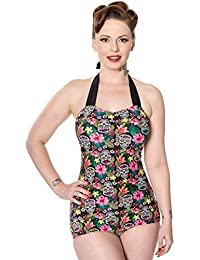 Banned Womens Rare Hearts Swimsuit (Black/Pink)