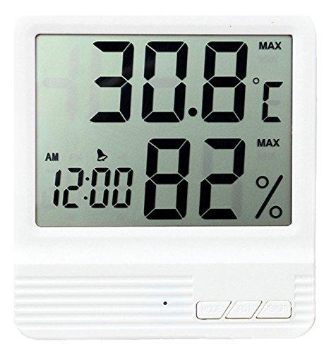 Digitales Innen-Temperatur und Luftfeuchtigkeit Meter mit Wecker, LCD Hygrometer Thermometer Monitor für Zuhause, Büro, großen LCD-Bildschirm