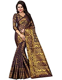SATYAM WEAVES WOMEN'S ETHNIC WEAR COTTON SILK JARI BORDERED BANARASI SILK SAREE. (RAJGHARHANA)