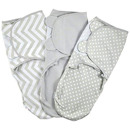Juicy Bumbles Baby Pucksack Wickel-Decke - 3er Pack Universal Verstellbare Schlafsack Decke für Säuglinge Babys Neugeborene 4-6 Monate Grau