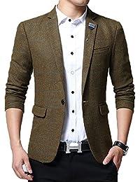 Mirecoo Modisch Slim Fit Herren Tweed Sakko Blazer Kariert Design Hochzeit  Party b4d1daf33a
