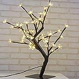 Arbre Lumineux LED Lampe de cerisier 48 Fleurs des Lumières d'arbre de Cerise 45 cm LED Lumière d'arbre Pour la Décoration Intérieure, Bureau, Chevet, Blanc Chaud