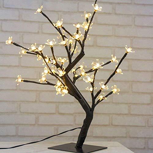 Luces Decorativas Led de 45Cm LED con 48 Flores de Arbol Luminoso Interior Luces de Navidad Led Exterior , Escritorio, Cabecera, blanco caliente