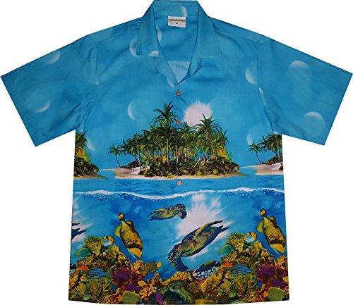 Hawaiihemd / Hawaii Hemd Turtle's Paradise / 100% Baumwolle / Gr. 6XL / turkis