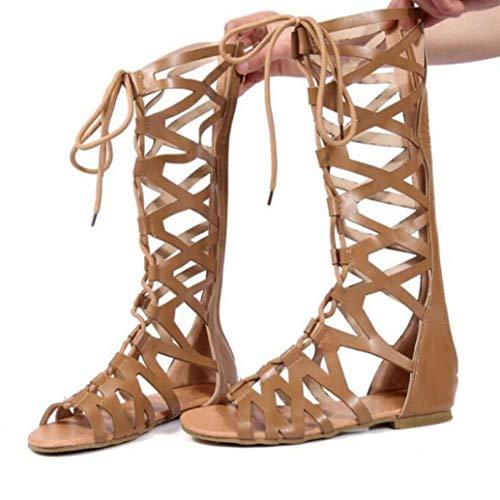 Frauen Gladiator Caged Riemchen Flache Sandalen Open Toe Cross Strap Schnüren Zurück Reißverschluss Sandale Sommer Strand Schuhe (Caged Keil Sandalen)