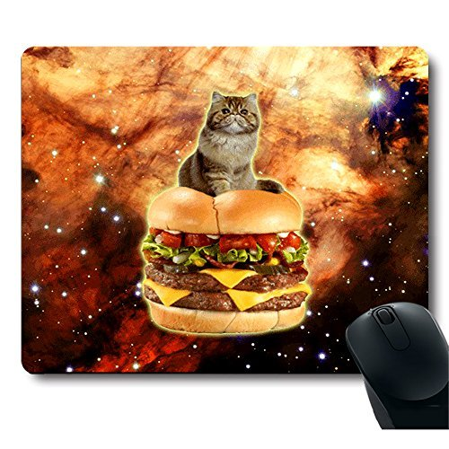 MP MPAD PCASE Cute Cat Stand on a Hamburger in Galaxy Space Mouse Pad