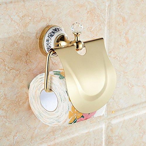 DXDJ wasserdichte rollen papier stehen, bad gold, blau - weißem porzellan, kristall toilettenpapierhalter / wc umhauen, wasserdichte toilettenpapierhalter