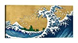 DìMò ART Rahmen Druck auf Leinwand mit Rahmen in Holz Katsushika Hokusai The Big Wave (detail from 100 Views of Mt. Fuji) Größe 120x60 CM