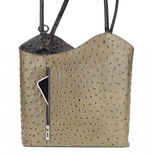 OBC Ledertasche Strauß Prägung Damen Tasche Blogger bag 2in1 Handtasche Rucksack Umhängetasche Schultertasche Henkeltasche Tablet/Ipad ca. 10-12 Zoll 27x29x8 cm (BxHxT) (Taupe-Schwarz (Strauß)) (Strauß-geprägte Tote)