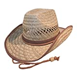 Galeja Herren Stroh Hut Cowboyhut mit Kinnband Gr. 57/58 Westernhut Australier Braun Lederimitat