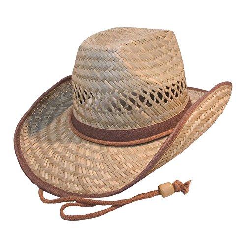 (Galeja Herren Strohhut Cowboyhut mit Kinnband Gr. 58/59 Westernhut Australier Braun Lederimitat)