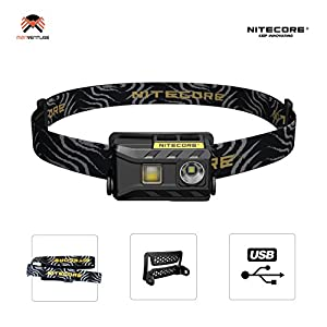 Nitecore NU25 Head Torch USB Rechargeable Triple Output Headlamp 360 Lumen CREE XP-G2 S3 LED 10 Brightness Modes IP66 Waterproof 28 Grams Headtorch Ideal for Camping, Fishing, Running, Biking, EDC