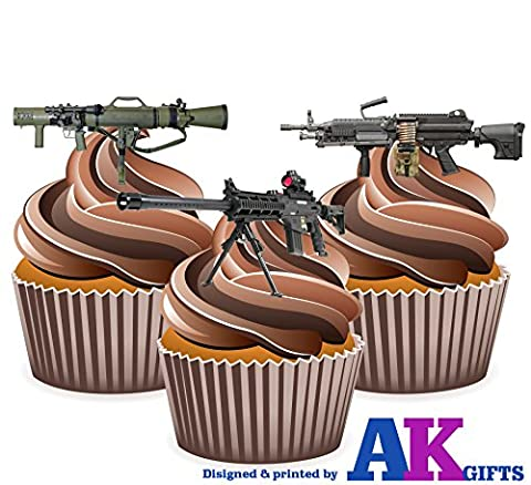 Novelty Machine Gun Cake Decorations - Edible Cup Cake Toppers (Pack of 12)
