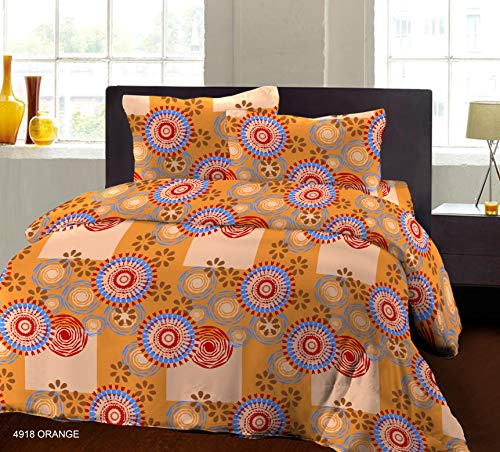Bombay Dyeing Beeze+ 120 TC Cotton Bedsheet with 2 Pillow Covers - King Size, Orange