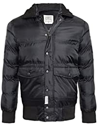 D-STRUCT MENS QUILTED COAT FUR COLLAR PADDED RIBBED WINTER JACKET