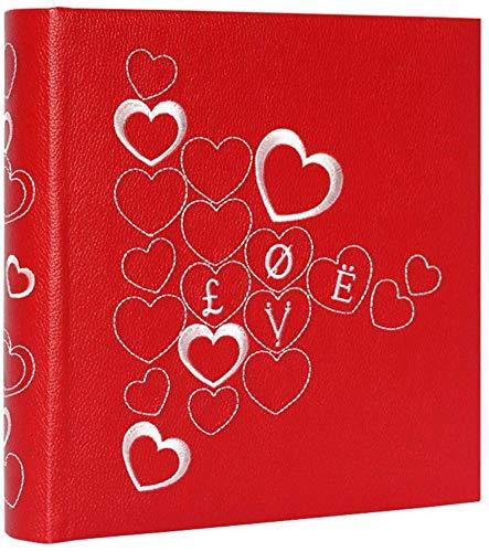 Yxynb album fotografico con area di scrittura per promemoria, copertina ricamata in pu, anima in carta ecologica, foto 4.5 × 6 '' 200 foto turismo amore (colore, rosso), rosso
