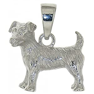 Derby Anhänger Jack-Russel-Terrier Hunderasse massiv echt Silber 23831