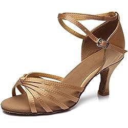 HIPPOSEUS Donna Ballroom Scarpe da ballo /sala da ballo scarpe/Scarpe da ballo latino standard di Raso,IT217-7,Beige,EU 37.5