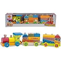 Eichhorn 100002223 - Color Holzzug, 18-teilig, bunt - Zug mit 15 Bausteinen - aus Holz, 41 cm lang