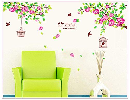 PeiTrade Pink Hibiscus Flower Wandaufkleber Art Decal Home Zimmer Dekor Büro Wand Wand Tapete Kunst Aufkleber Aufkleber Papier Wandbild für Haus Schlafzimmer (Hibiscus Blume Decal)