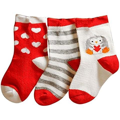 ESHOO 3 Pack infantile sveglio del ragazzo della neonata calzini, 0-3 anni